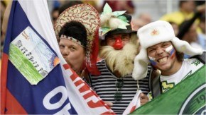 Russian supporters cheer on their team before the Group H football match between Algeria and Russia at The Baixada Arena in Curitiba on June 26, 2014, during the 2014 FIFA World Cup.
