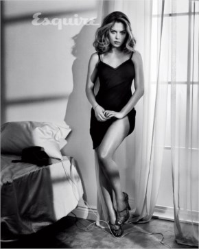 Scarlett Johansson black and white photo with sexy legs
