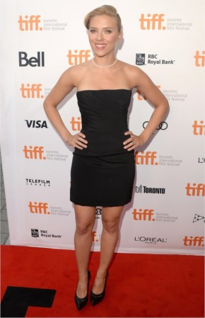 Scarlett Johansson hot in black strapless minidress with matching pumps on the Don Jon premiere at the Toronto International Film Festival