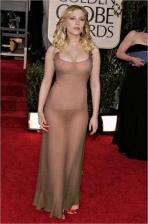 Scarlett Johansson looks in transparent topless costume during Golden Globe Awards Red Carpet