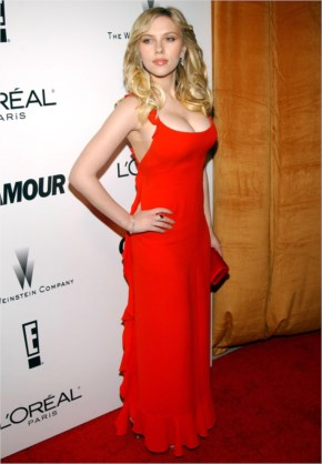 Scarlett Johansson of course looks lovely in red