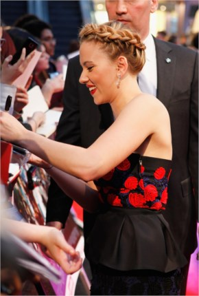 Scarlett Johansson signed autographs for fans at the premiere of The Avengers in London