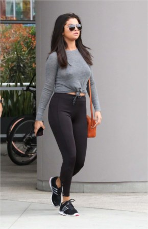 Sexy Selena Gomez Hot in Leggings Leaving a gym at West Hollywood