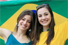 Shunning the face-paint, two Brazil fans opted for the fresh-faced look in the stands at the Arena Corinthians in the build-up for the opening match of the World Cup