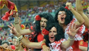 Soccer Fans  of Spain's national football team react at the end of the fifa world cup