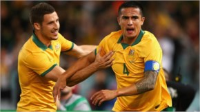 Socceroos captain Tim Cahill celebrates