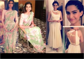 Sonam kapoor different poses in saree and frock- laughspark.com