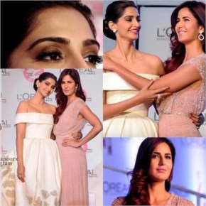 Sonam kapoor with katrina kaif  at a promotional event