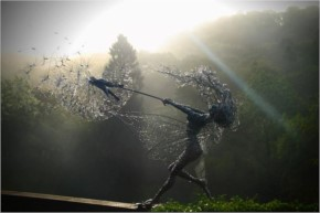 Dramatic Spectacular  Fairy Sculptures Dancing With Dandelions Stainless Steel And Ethereal Wire Fairies By Robin Wight