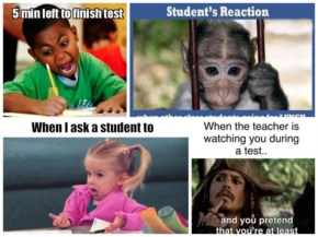 Student reactions after teacher - funny memes