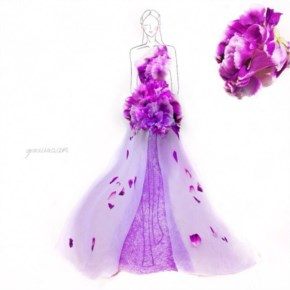 Creative fashion student brilliantly designs dresses made of real flowers