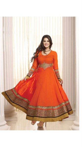 Sunny leone in Deep Orange new designer Suit