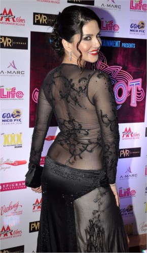 sunny leone transparent back less hot dress