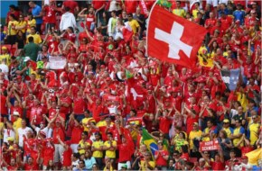Switzerland fans cheer during the 2014 FIFA World Cup Brazil