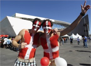 Switzerland fans enjoy the atmosphere prior to the 2014 FIFA World Cup Brazil