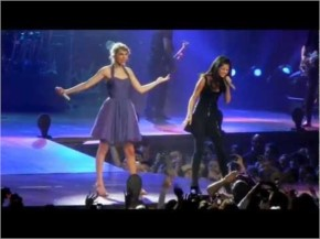 "Taylor brings out one of her best friends during her final Speak Now concert in the United States... Selena Gomez! Taylor and Selena perform ""Who Says"