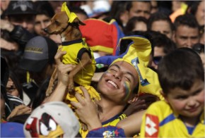 The Colombian fans rejoiced as their national side put on a stellar performance to make it to the last eight of the FIFA World Cup