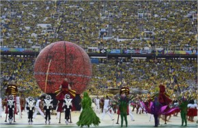 The Happiness Flag Is Seen As Artists Perform During The Closing Ceremony Of The 2014 FIFA World Cup Brazil
