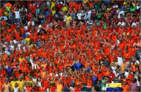 The Netherlands fans cheer during the 2014 FIFA World Cup Brazil
