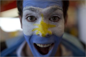 There were numerous fans with painted faces watching the match