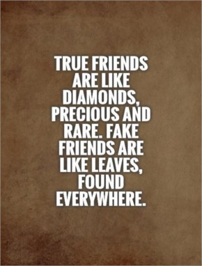 True friends are like diamonds, precious and rare. Fake friends are like leaves, found everywhere.