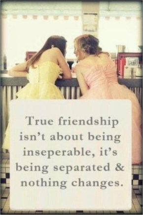True friendship isn't about being inseparable, it's being separated and nothing changes.