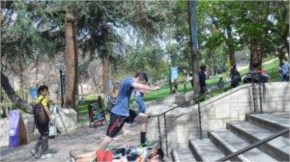 UCLA Student Jumps Over Protesters