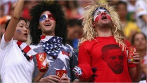 United States fans enjoy the atmosphere prior to the 2014 fifa world cup
