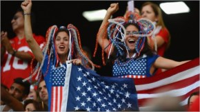 United States fans soak up the atmosphere prior to the 2014 FIFA World Cup Brazil