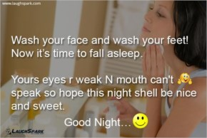 Wash Your Face And Wash Your Feet - Good Night Picture Message