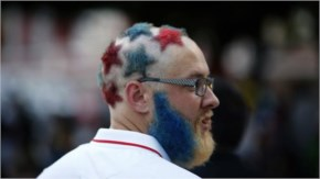 Weird hairstyle put up by an American fan