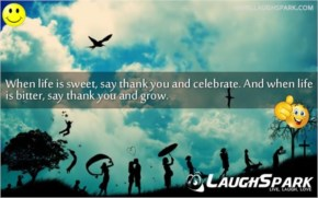 When life is sweet, say thank you and celebrate. And when life is bitter, say thank you and grow | Life Quotes