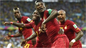 World cup faces Asamoah Gyan of Ghana celebrates scoring his team's second goal during the 2014 FIFA World Cup Brazil