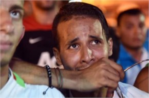 World cup faces fans of Alergia react during a public screening 2014 FIFA World Cup