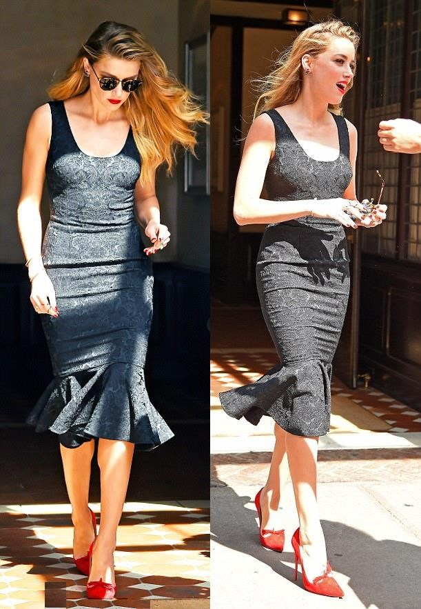 8a772a83d61 actress Amber Heard black Tight dress looking Gorgeous After Promoting her  upcoming Movie  Magic Mike XXL  ...