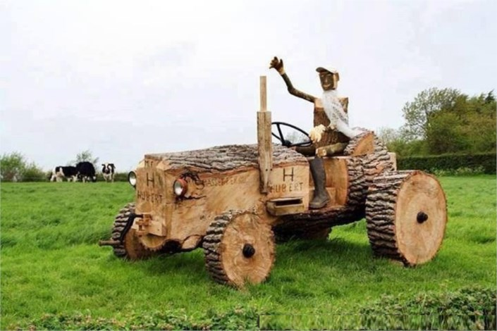 Drawing Man On Tractor : Marvelous wood art a man on tractor waving his hand