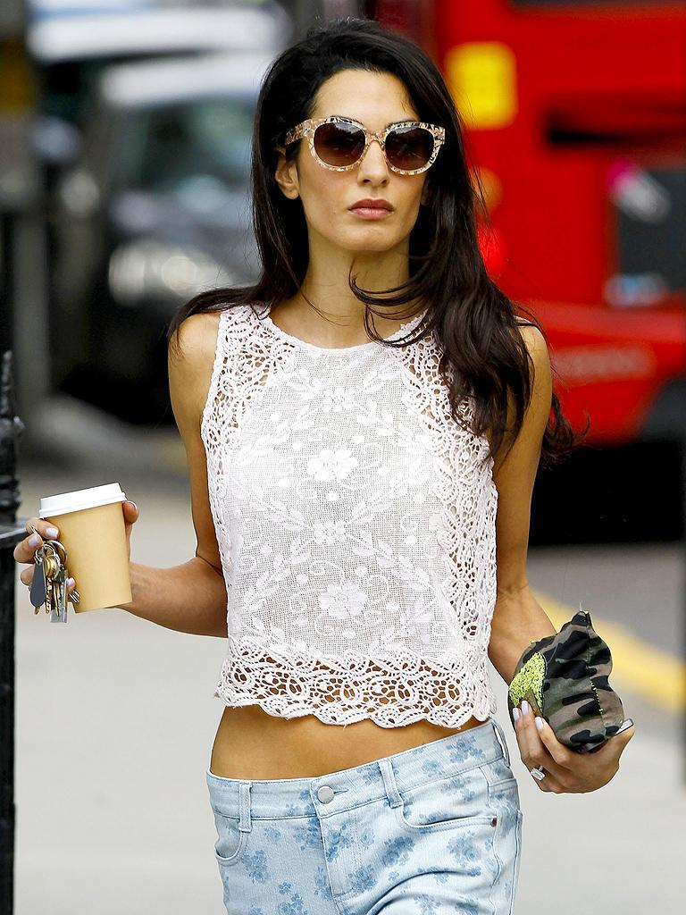 Amal Alamuddin Shows Some Skin And Her Midriff In London