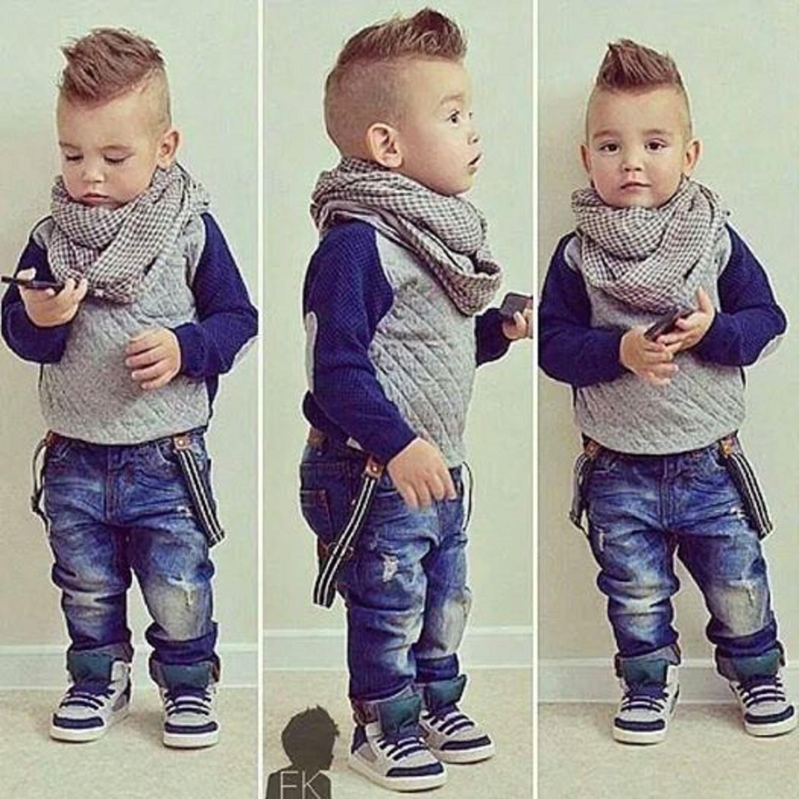 Funny Stylish Kids Boy Very Cool Hair Love The Scarf And Suspenders - Cool hairstyle for toddler boy