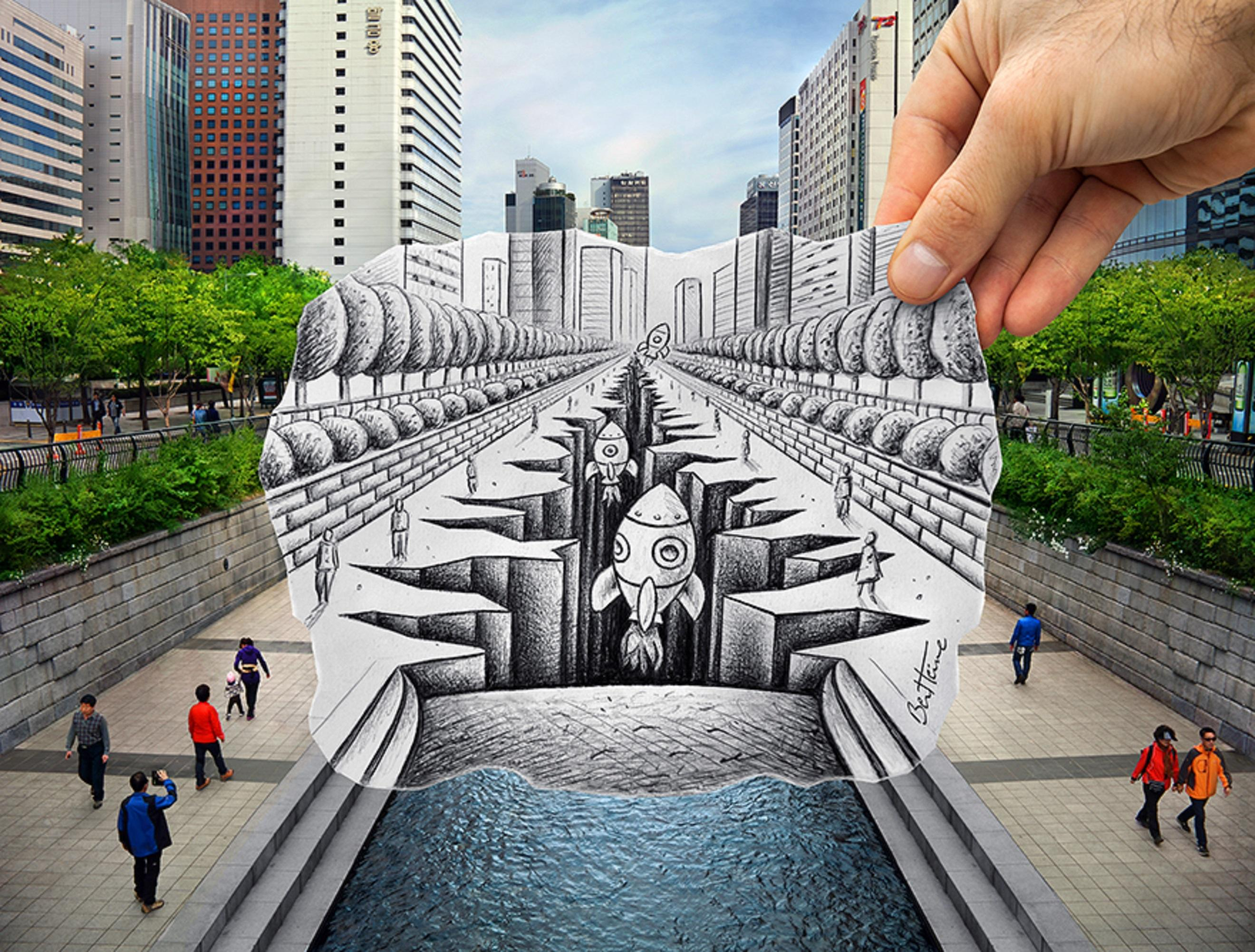 Pencil Vs Camera Space Shuttles Taking Off From The Heart Of Seoul Art By Ben Heine