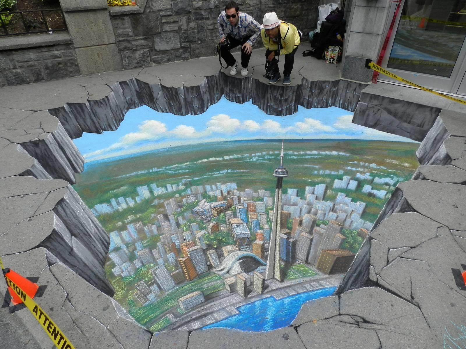 Street painting 3d illusions for 3d mural art